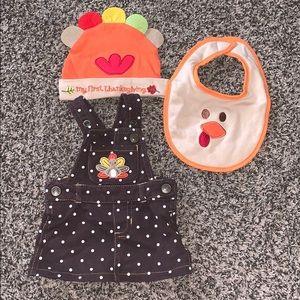 My First Thanksgiving Baby Girls Hat/Bib/Dress NB